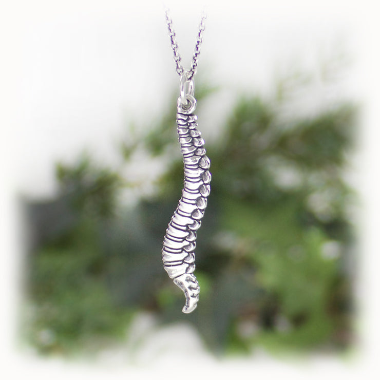 Spine Anatomy Charm Hand Carved Sterling Silver Jewelry