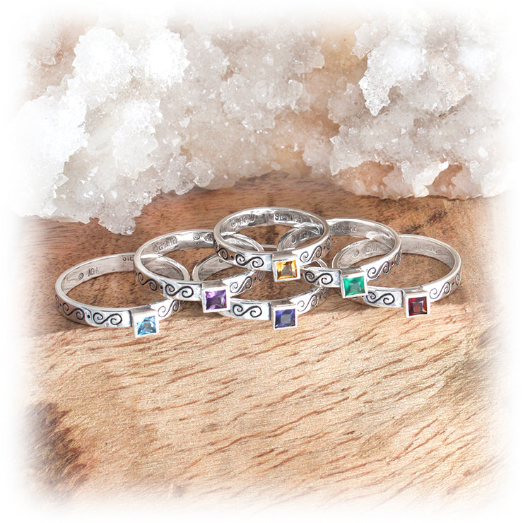 Gemstone Stacking Ring ~ Greek Scroll