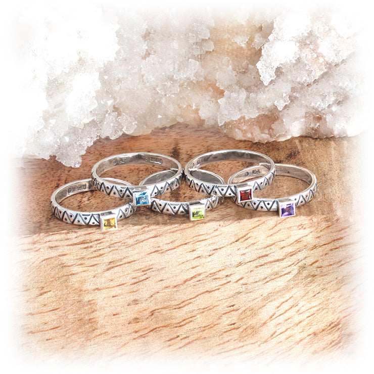 Gemstone Stacking Ring ~ Zig Zag