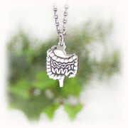 Stomach Intestine Charm Hand Carved Sterling Silver Jewelry