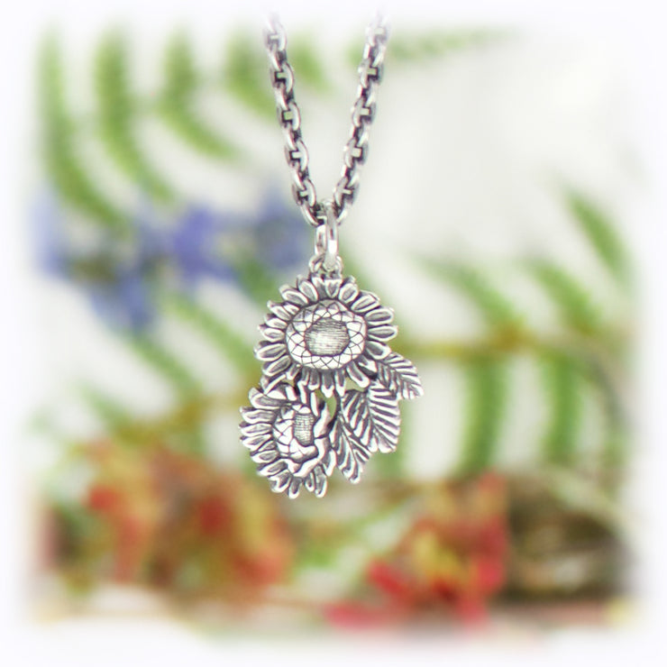 Sunflower Flower Charm Handmade Sterling Silver Jewelry