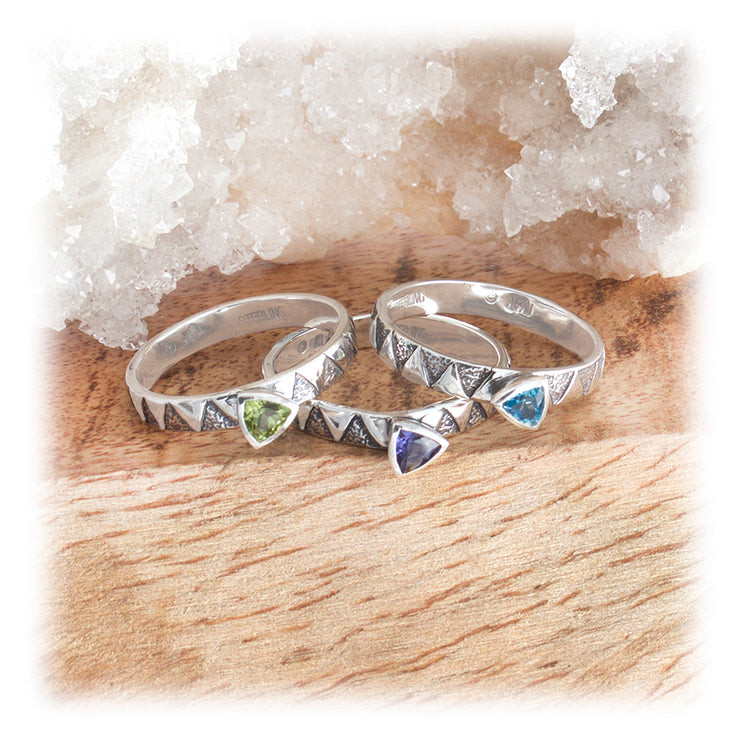Geometric Gemstone Stacking Ring ~ Pyramid