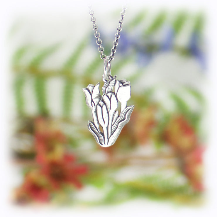 Tulip Flower Charm Handmade Sterling Silver Jewelry
