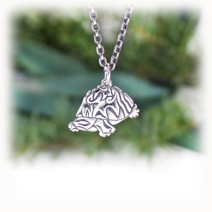 Turtle Animal Charm Hand Carved Sterling Silver Jewelry