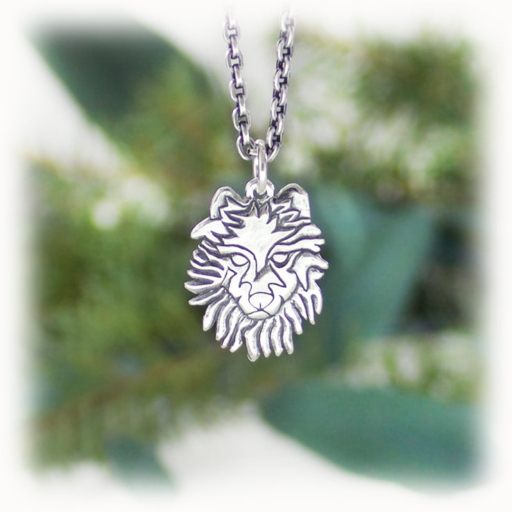 Wolf Animal Charm Hand Carved Sterling Silver Jewelry