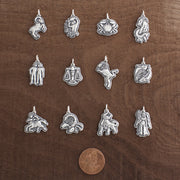 Pisces Zodiac Charm Astrology Hand Carved Sterling Silver Jewelry
