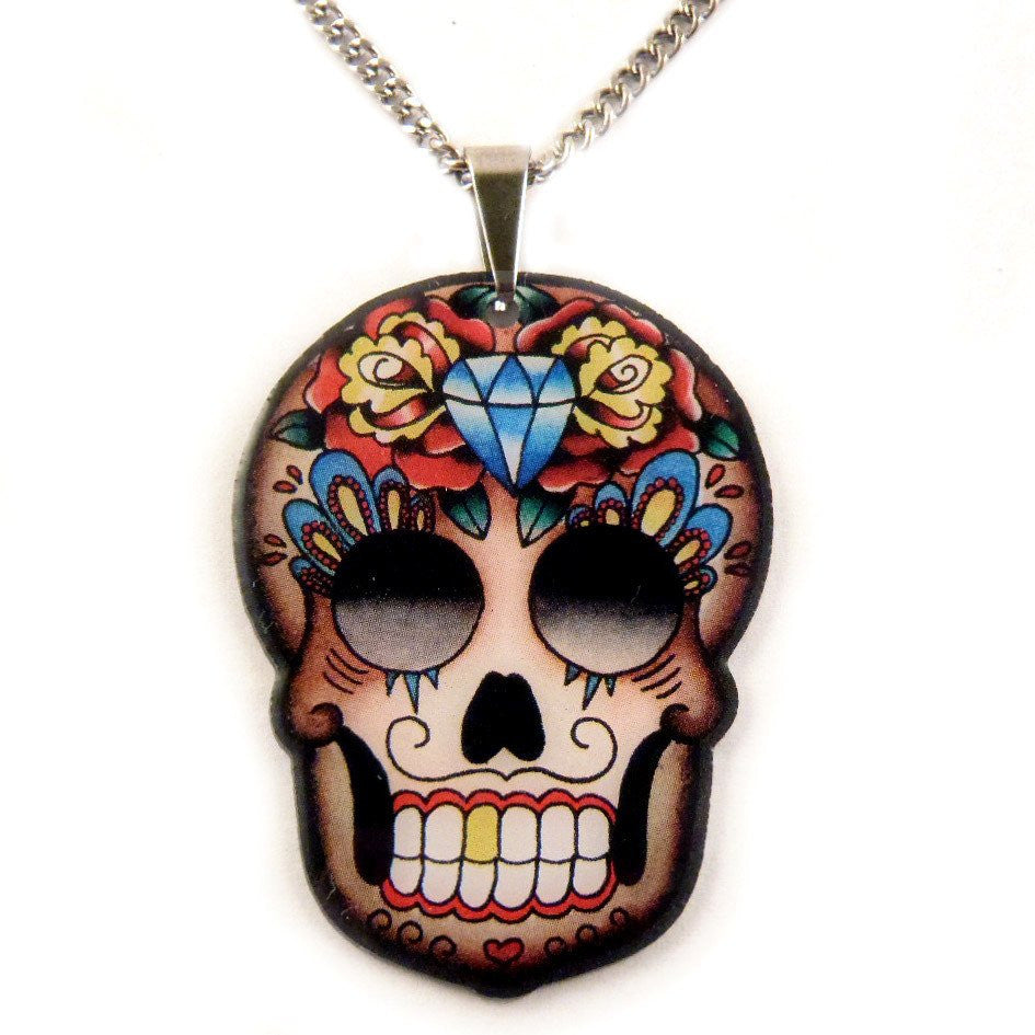 necklace pendant skull sugar elosee plating and patina products flower earrings