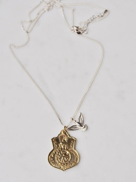 Ashanti Necklace in Silver with Brass Medallion