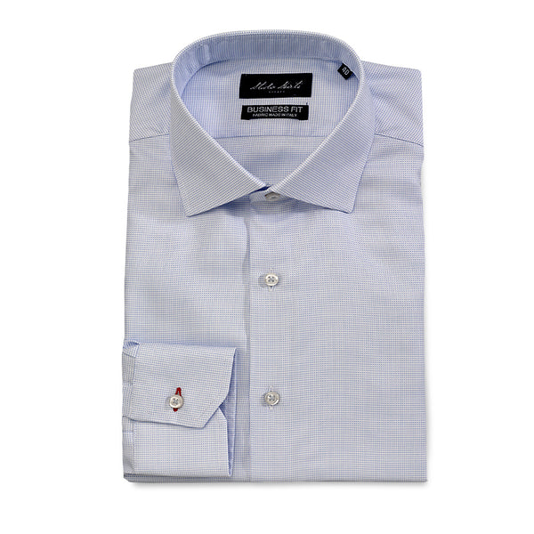 Men's Micro Check Shirt Light Blue