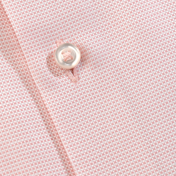 Men's Micro Check Shirt Salmon Pink