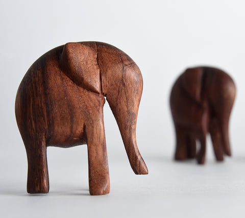 Hand-Carved Wooden Elephants