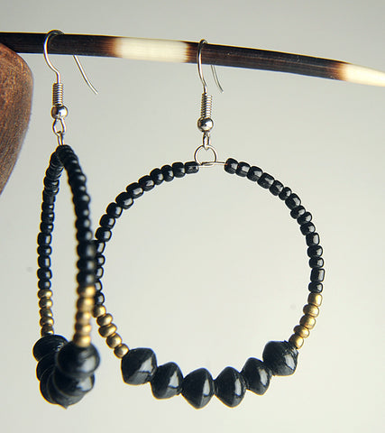 Duara Paper Bead Hoops (Black)