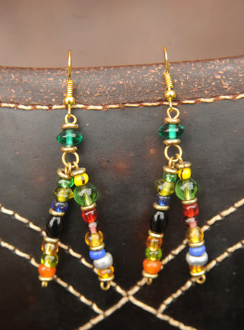 Double-pin Glass Bead Earrings