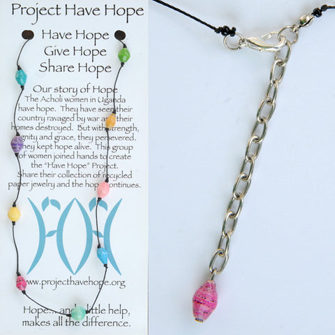 Knotted Paper Bead Necklace