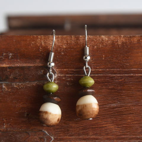 Round Bone & Paper Earrings