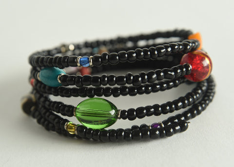 Memory Wire Glass Bead Bracelet