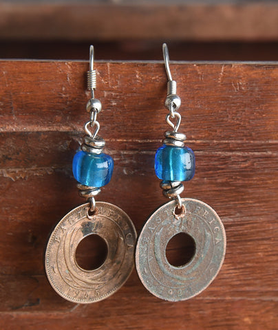 Coin Earrings with Bead Accents