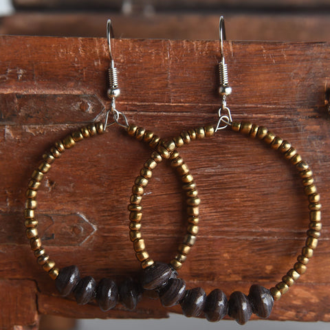 Duara Paper Bead Hoops (Gold)