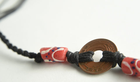 Coin Anklet with Glass Bead Accents