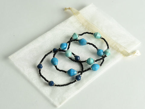 Black Bead and Paper Bracelets