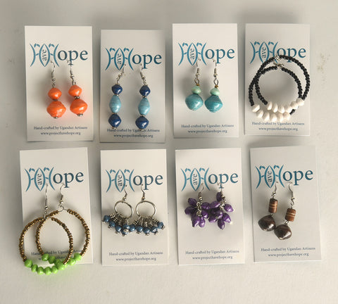 Paper Bead Earring Collection of 8 Pairs