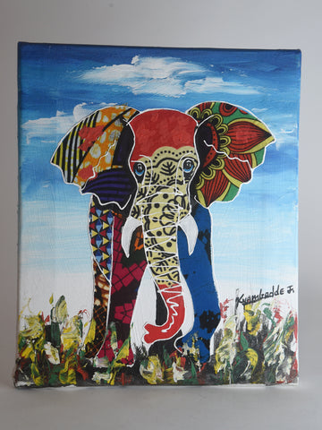 Kitenge & Acrylic Collage Painting