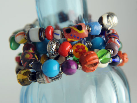 Glass Bead Bracelets Set of 5