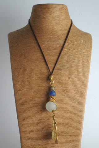 Recycled Glass Bead Statement Necklace