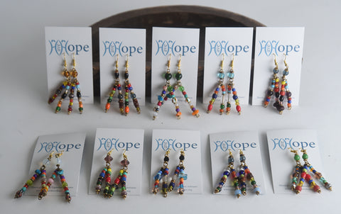 Set of 10 Two-Pin Glass Bead Earrings