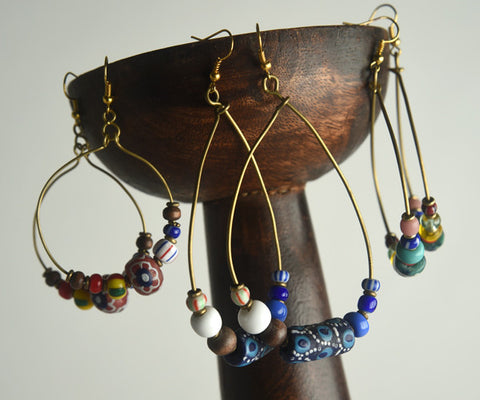 Hoop Glass Bead Earrings