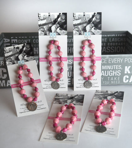Set of 5 Breast Cancer Awareness Bracelets