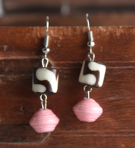 Bone and Paper Earrings