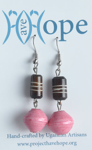Brown Striped Bone & Paper Earrings