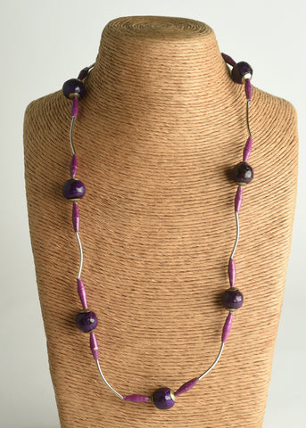 Clay & Paper Bead Necklace