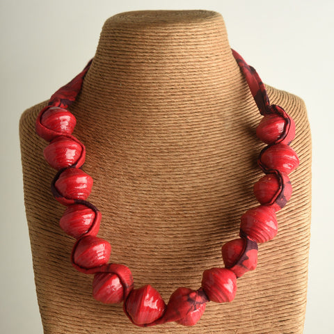 Paper Bead and Fabric Necklace