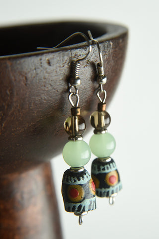 Hand Painted Glass Bead Earrings
