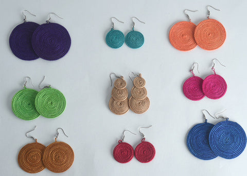 Sisal Earrings 9 Pair Set