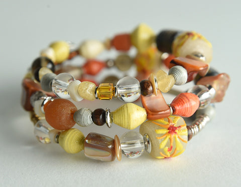 Mixed Media Memory Wire Bracelet
