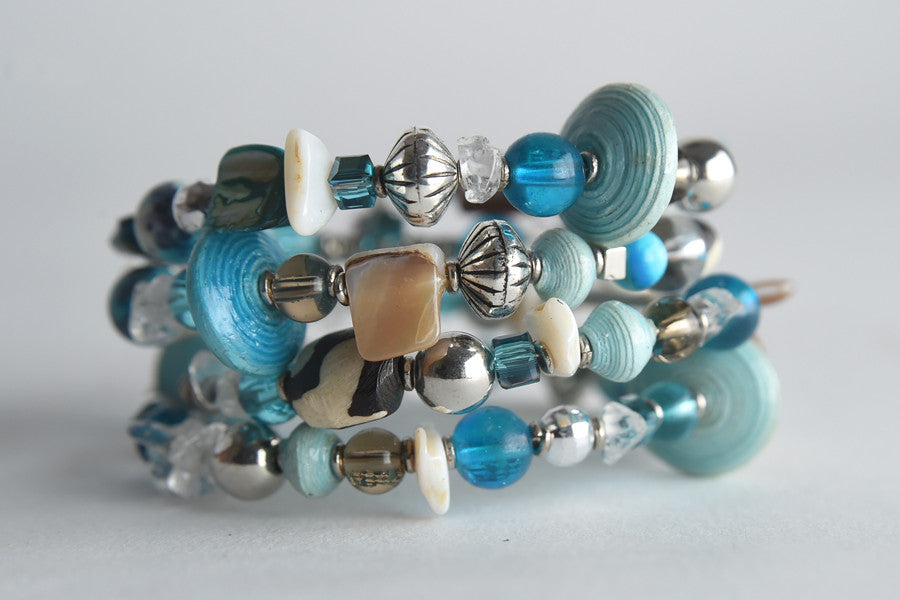 Mixed Media Memory Wire Bracelet - Project Have Hope