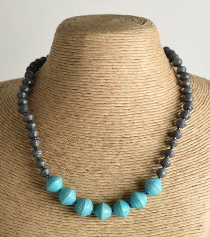 Two Tone Paper Bead Necklace