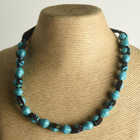 Small Paper Bead and Fabric Necklace