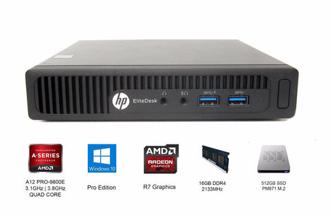 HP EliteDesk 705 G3 Mini Desktop A12-9800E R7 3.1GHz | 512GB SSD | 16GB | Win10