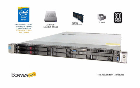 HP ProLiant DL360 Gen9 G9 | Dual CPU E5-2680v3 2.50GHz | 128GB RAM 2x 80GB SSD
