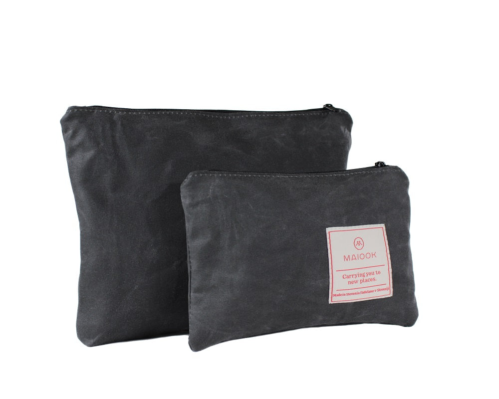 wax canvas pouch, gray cosmetic bag