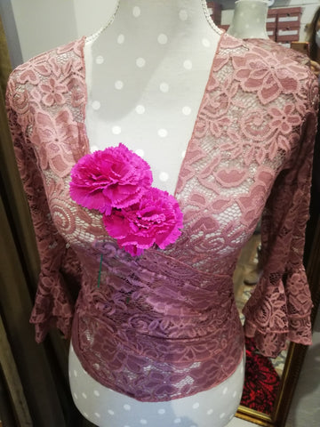 Flamenco dance blouse Lace LIGHT ROSE |  Blusa de baile flamenco Encaje ROSA CLARO OFERTA!!!