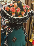 Delantal y mantoncillo baile flamenco flores OFERTA!! | Delantal con mantoncillo flamenco flores SALE!!