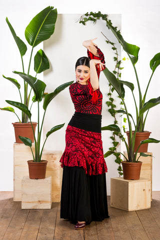 Flamenco dance skirt and top 3 pieces |  Falda baile flamenco y blusa 3 piezas
