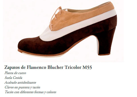 Flamenco dance shoes Begoña Cervera Blutcher |  Begoña Cervera Modelo Blutcher Tricolor