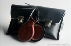 Professional Castanets - Red Wood Veined in White | Castañuela Profesional - Madera Roja Veteada Blanca
