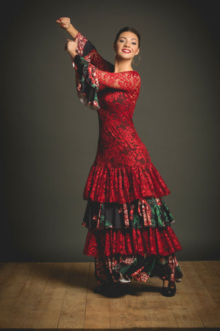 Flamenco dance dress Romero Model |  Vestido baile flamenco Estampado y encajes